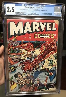 Marvel Mystery comics #63 CGC 2.5 human torch Hitler Nazi War Schomburg timely