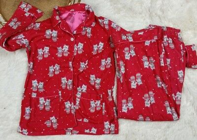 Girls Nick and Nora Pajama Set Red Cats Kitties Mittens Size 10 12 L Christmas