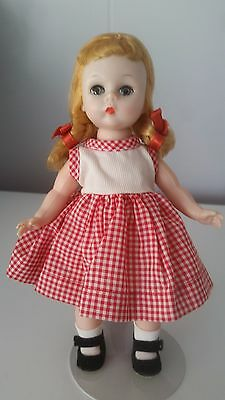 "Vintage Madame Alexander 8"" Alexanderkins In Red Sleeveless Dress"