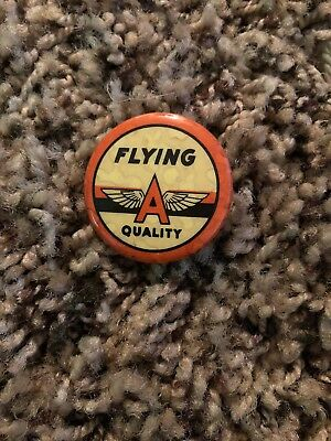 Vintage Tide Water Oil Co Flying A Quality Pin Back Badge  1940's