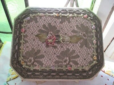 Antique Victorian lace box with silk ribbon roses