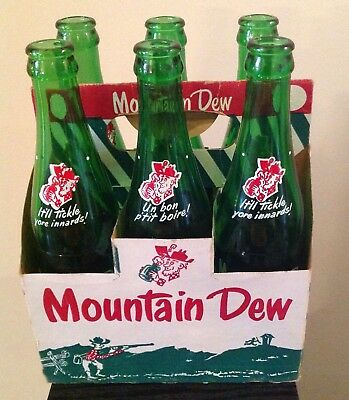 Rare Mountain Dew Six Pack Bottles Carrier Canadian w/ Names Hillbilly 10 oz