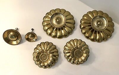 Lot of 10 ~ Vintage Mid Century Brass Hardware ~ Knobs Pulls Backplates