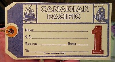 Vintage Canadian Pacific Railroad & Shipping Luggage Tag With Original String