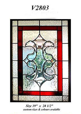 "Beautiful Stain glass window   19 "" w x 28 1/2 Bevel Cluster Red highlights  WoW"