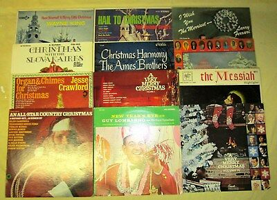 Lot of 12 Vintage Assorted Various Artists Christmas Record Albums - 33 rpm LP's