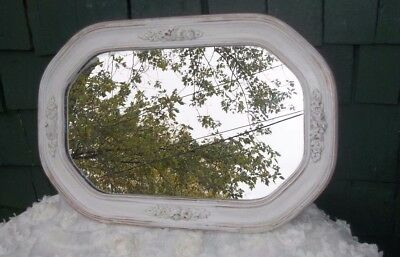 "Antique Mirror Ges'so French Shabby Chic Ornate Distressed 18.5"" X 12.75"""