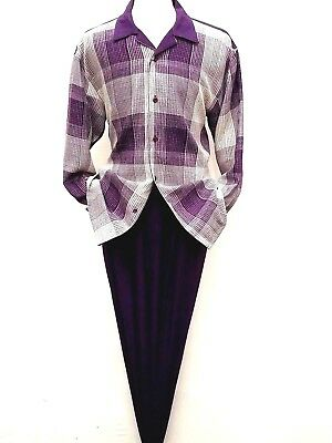 Men's Two Piece Walking Leisure Suit MONTIQUE Long Sleeves Slacks Set 1724 Plum