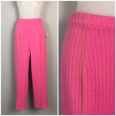 Vintage NOS 60s Hot Pink Cotton High Waist Ankle Pants Stretch Leggings Unworn S