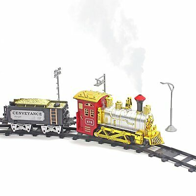 Battery Powered Rail Train with Steam Puffing Electric Toy Train Playset - - Red