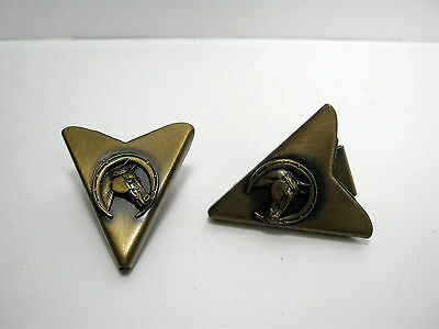 "Vintage Western Bronze Tone Horse Head ""winner"" Collar Tips Usa Made"
