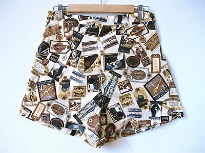 Womens beige high waisted 50's Shorts vintage rockabilly retro size 12 14 16 18