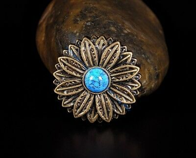 10PC 30*30MM Flower Concho with Blue Turquoise Center Antique Brass Screwback