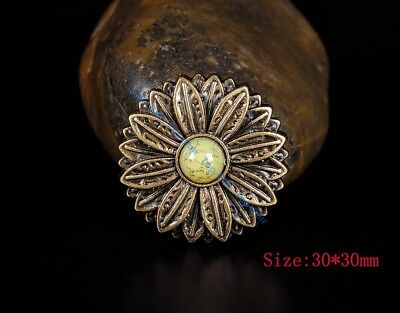 10PC 30*30MM Flower Concho with Beige Turquoise Center Antique Brass Screwback