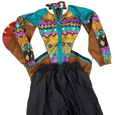 Vtg 80s Bold Spirit Womens Windbreaker Tracksuit Large Tribal Aztec Jacket Pants