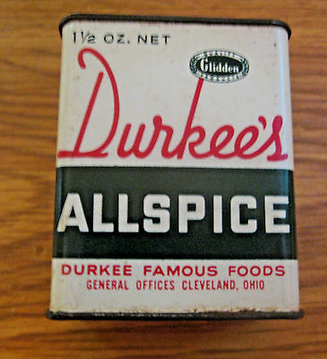 Vintage Glidden Durkee's Allspice Metal Advertising Spice Tin ~ See All Our Tins