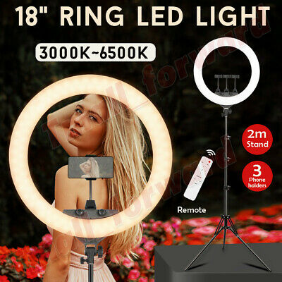 18'' Dimmable LED Ring Light 65W 5600K Diffuser Stand Make Up Beauty Studio Bag
