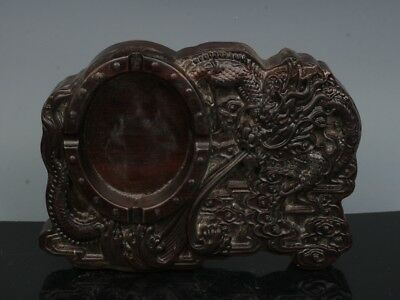 Chinese Exquisite Hand-carved Dragon carving Wooden Inkstone / Brush Washers