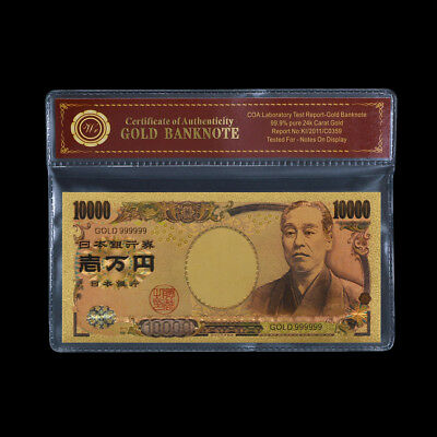 WR Japan 10000 Yen GOLD Banknote Novelty Asia Holiday Money Collection Gift +COA