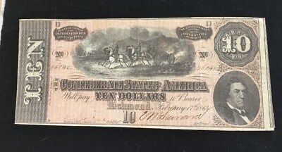 Civil War Confederate States Notes Currency $10 Richmond NR