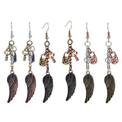 1 Pair Women Vintage Angel Wing Dangle Earrings Key And Lock Pendant Charm