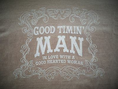 "Vintage Waylon ""Good Timin' Man"" T-shirt size Small- Brown w/blue lettering"