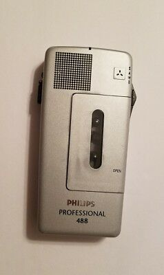 Philips Pocket Professional 488 Voice Recorder Recording Device Mini Cassette