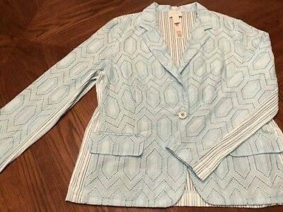 Chico's one of a kind Aqua Blue Blazer size 2 front/back unique in Great Cond!!