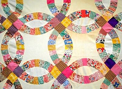Vintage 1930's Double Wedding Ring Quilt Top pastel PINK