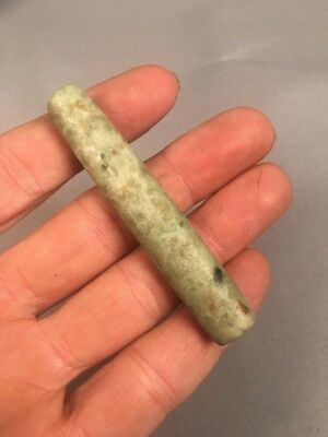 Ancient PreColumbian Tube Bead Jade Jadeite Spotted Jaguar Greenstone #4