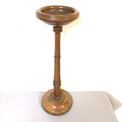 Antique Free Standing Oak Turned Wood Ashtray Great For Bar Restaurant
