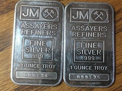 Lot Of (2) Old Style Johnson Matthey Consecutive Serial Numbers 1 Oz Silver Bars