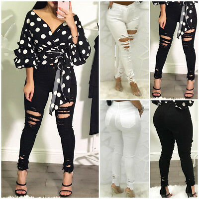 US Women Ripped Pencil Stretch Denim Skinny Jeans Pants Slim High Waist Trousers