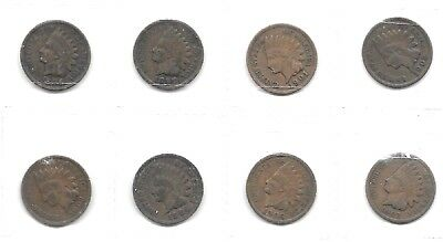Usa  8 Different Date Indian Head Cent Coins