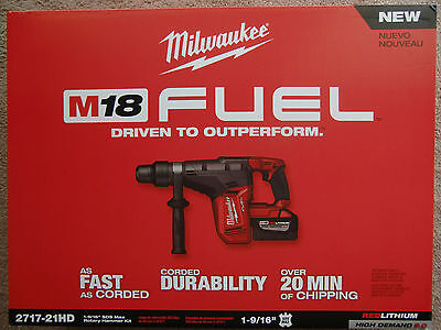 2717-21Hd Milwaukee M18 Fuel 1 9/16'' Cordless Rotary Hammer Drill - New