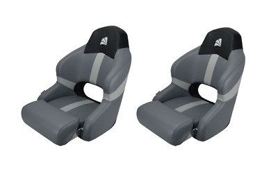 Boat Seat Sports Bucket  Seat With Bolster Black Carbon/ Grey Relaxn x 2 Seats