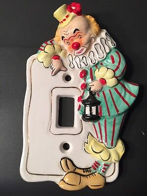 Vintage Ceramic Circus Clown Light Switch Wall Cover Plate Nursery Kids Room