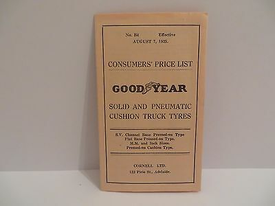 Goodyear 1925 Consumer's Price List Solid & Pneumatic Cushion Truck Tyres - Rare