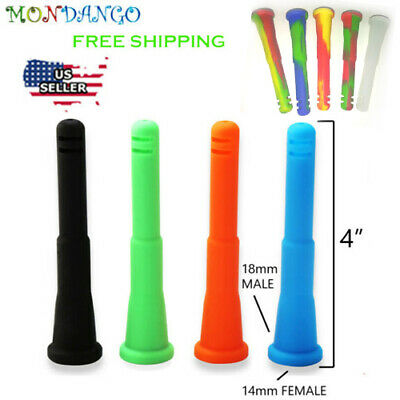 "4"" Silicone Downstem Stem 14mm Female To 18mm Male  For Glass 14mm Male Bowl"
