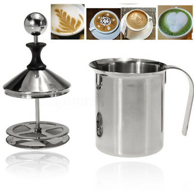 400ML Stainless Steel Pump Milk Frother Cappuccino Coffee Double Froth Foamer