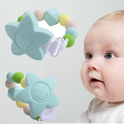 Custom Silicone Teether Teething Rattle Baby Toy Shower Gift Training Bendable