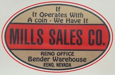 two Mills Sales Co. water slide decals for antique coin op machine restoration