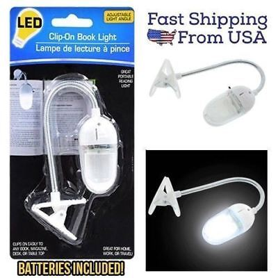 LED Clip-On Book Light Lamp Bed Desk with Adjustable Angle Batteries Included