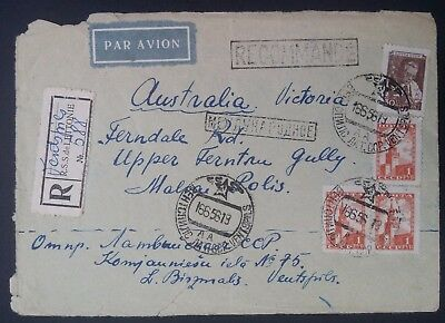 RARE 1956 Soviet Union Regstd Airmail Cover ties 4 stamps Ventspils to Australia
