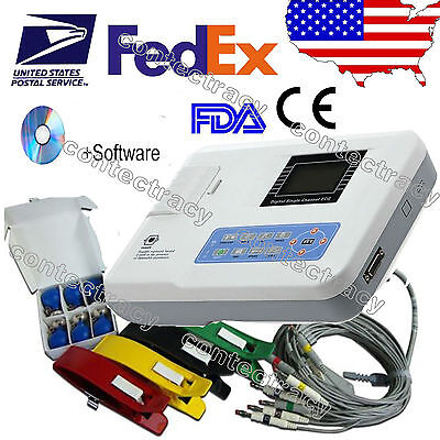 3-4 DAYS DELIVERY! 3 CHANNEL 12 LEAD COLOR ECG EKG Machine PC Software + Printer