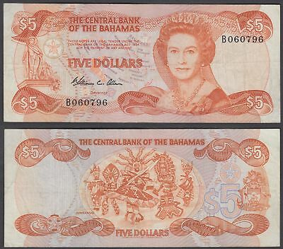 Bahamas 5 Dollars L. 1974 (1984) Banknote (VF) Condition P-45a QEII TDLR