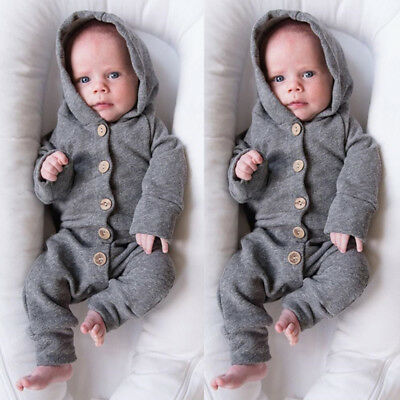 UK Stock Newborn Baby Girls Boys Hooded Romper Bodysuit Jumpsuit Clothes Outfits