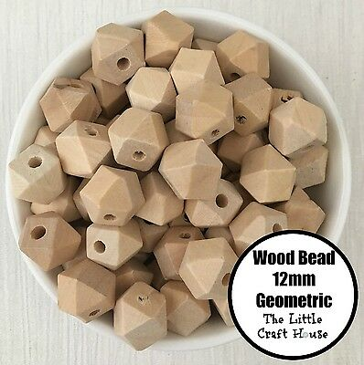 20 Natural Unfinished Geometric Wood Beads 12mm Wooden Bead Hexagon Teething DIY