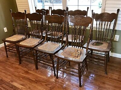 Set Of 8 Antique Pressed Back Chairs