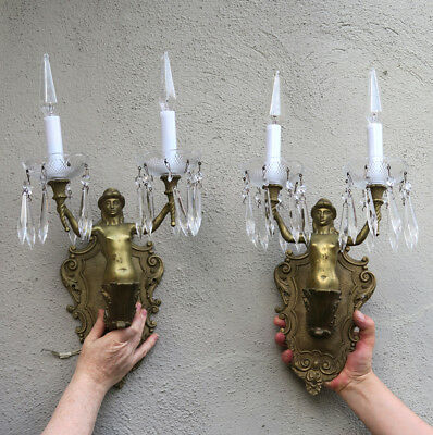 PR Sconces Antique Deco Mermaid crystal brass bronze Crystal lamp lady French